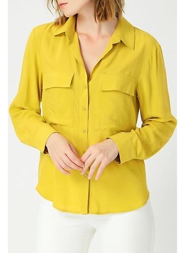 Random Kadın Uzun Kollu Klasik Gömlek Hardal